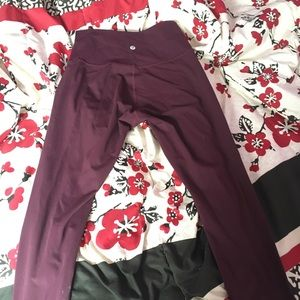 lulu lemon burgundy leggings